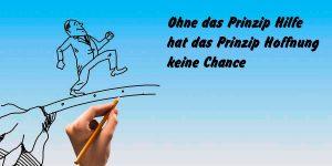 """Cartoon mit Text """"Ohne das Prinzip Hilfe hat das Prinzip Hoffnung keine Chance"""""""