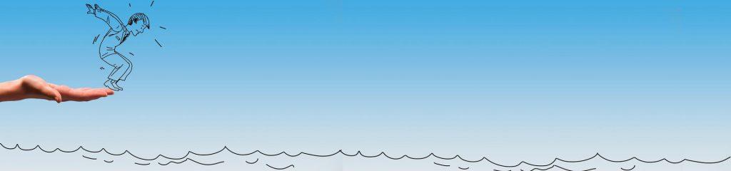 "Cartoon ""Mann springt ins Wasser"""